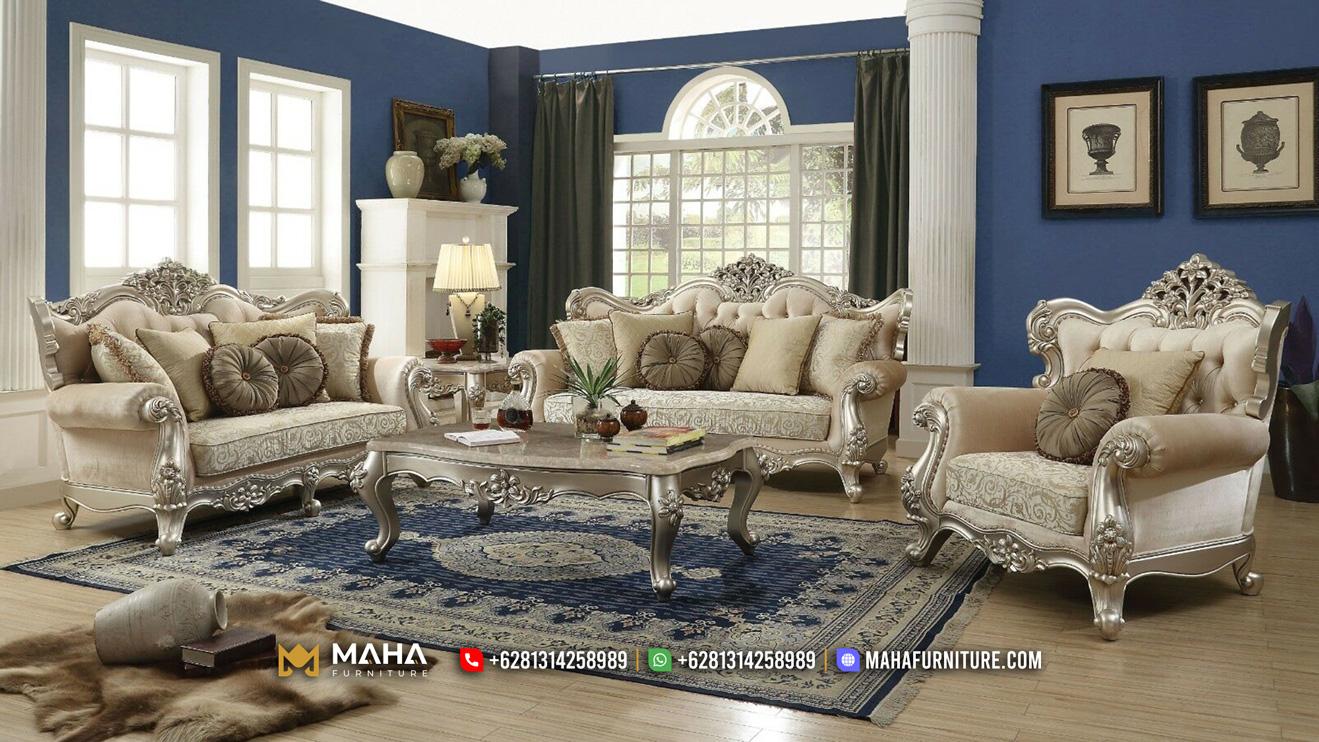 Model Terbaru Sofa Ruang Tamu Mewah Ukir Jepara Luxury Champagne MF-1