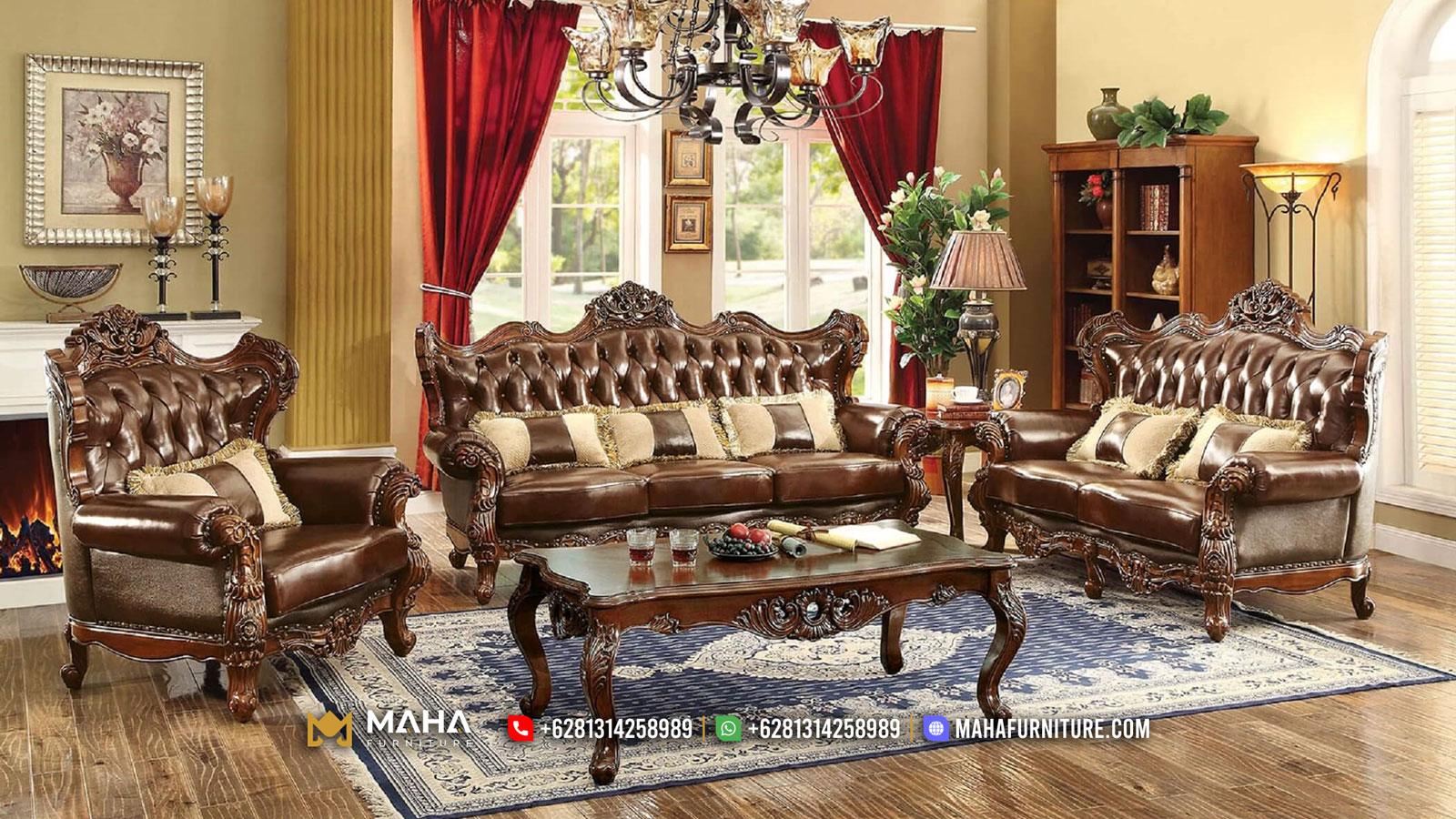 100 % High Quality Sofa Tamu Mewah Terbaru Natural Jati Perhutani Jepara MF31