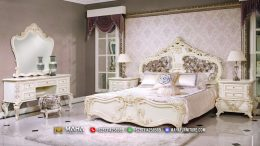 Baru Set Kamar Tidur Mewah, Dipan Ukiran Jepara Beautiful in White MF108