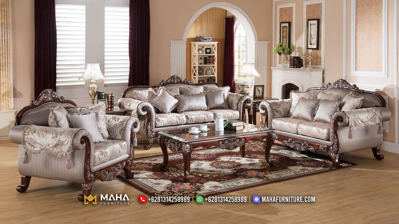 Baru Sofa Tamu Jati Jepara Elegant Brown Garnett MF213