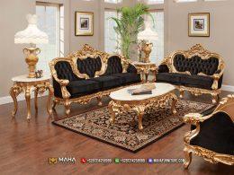Baru Sofa Tamu Ukir Mewah Alexa Golden Black Spectacular MF75