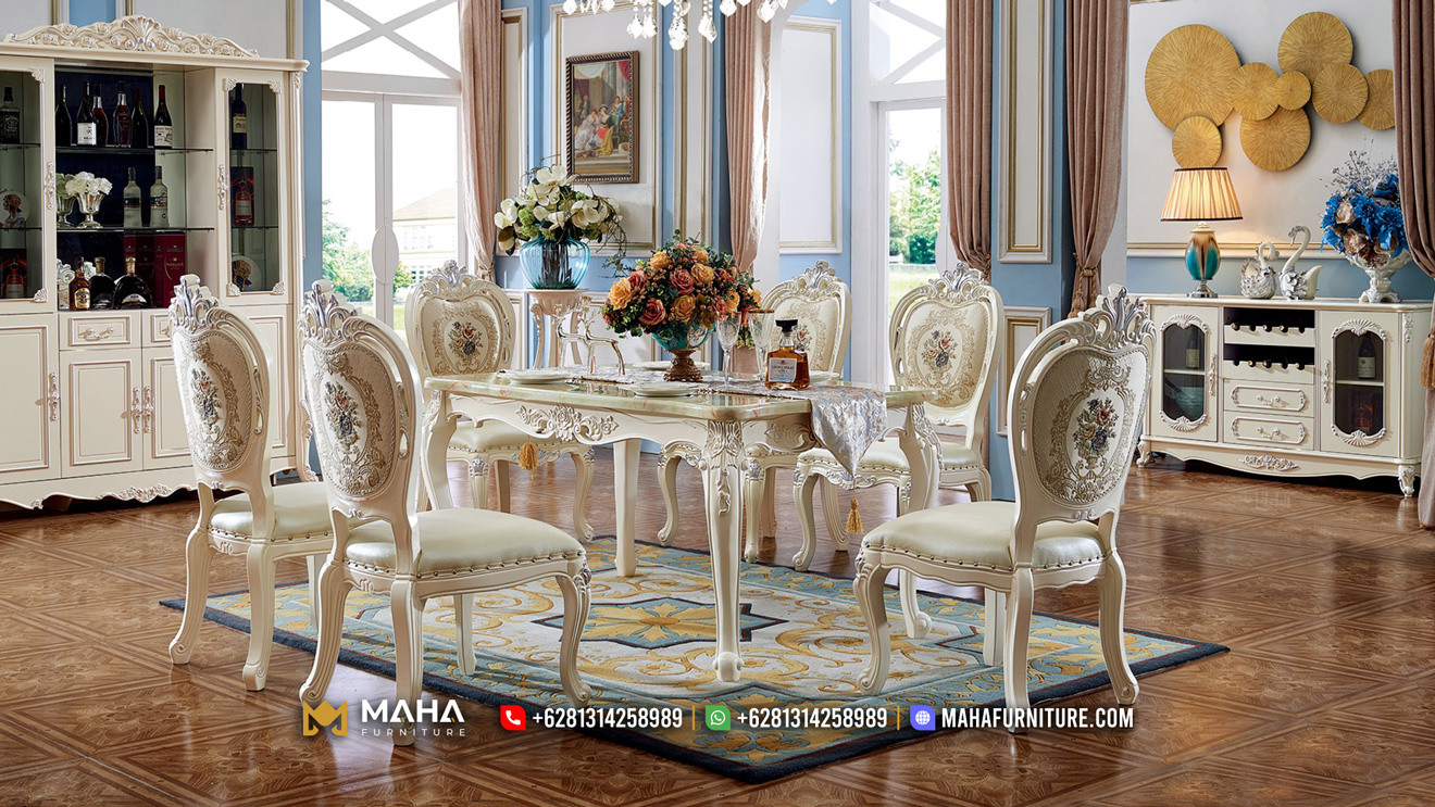 Beautiful Meja Makan Mewah Jepara Luxury Dionne MF223