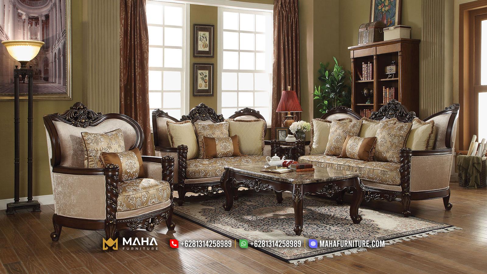 Beauty Set Sofa Tamu Mewah Ukir Jepara Natural Jati Perhutani MF12