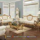 Best Kursi Sofa Mewah Ukiran Jepara Golden White Exclusive MF77