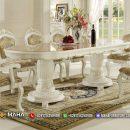Desain Meja Makan Minimalis Jepara Ukir Klasik Ivory MF219