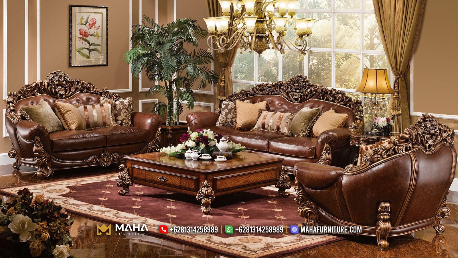 Empire Style Sofa Tamu Mewah Jepara Luxury Brunello Carving Natural Dark Brown MF24
