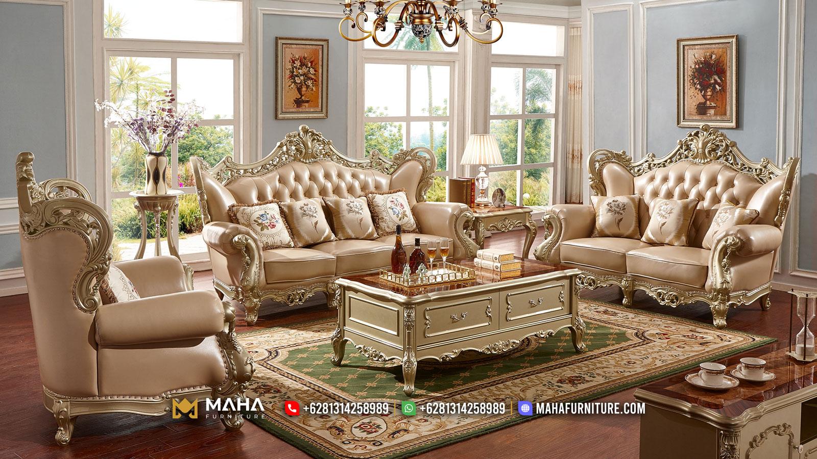 Harga Sofa Tamu Jepara Luxury Carving New Golden Leaf Color Excellent MF14