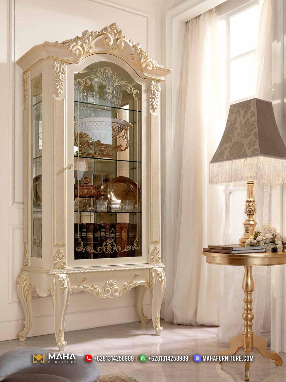 Jual Lemari Hias Mewah Klasik Jepara Duco White Beautiful MF189
