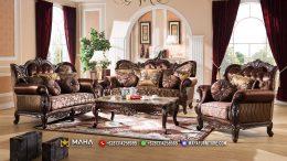 Kursi Sofa Ukir Jepara Stunning Brown Leather Empire MF46