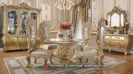 Luxury Set Meja Makan Ukiran Mewah Glamourous Gold Urbi MF224