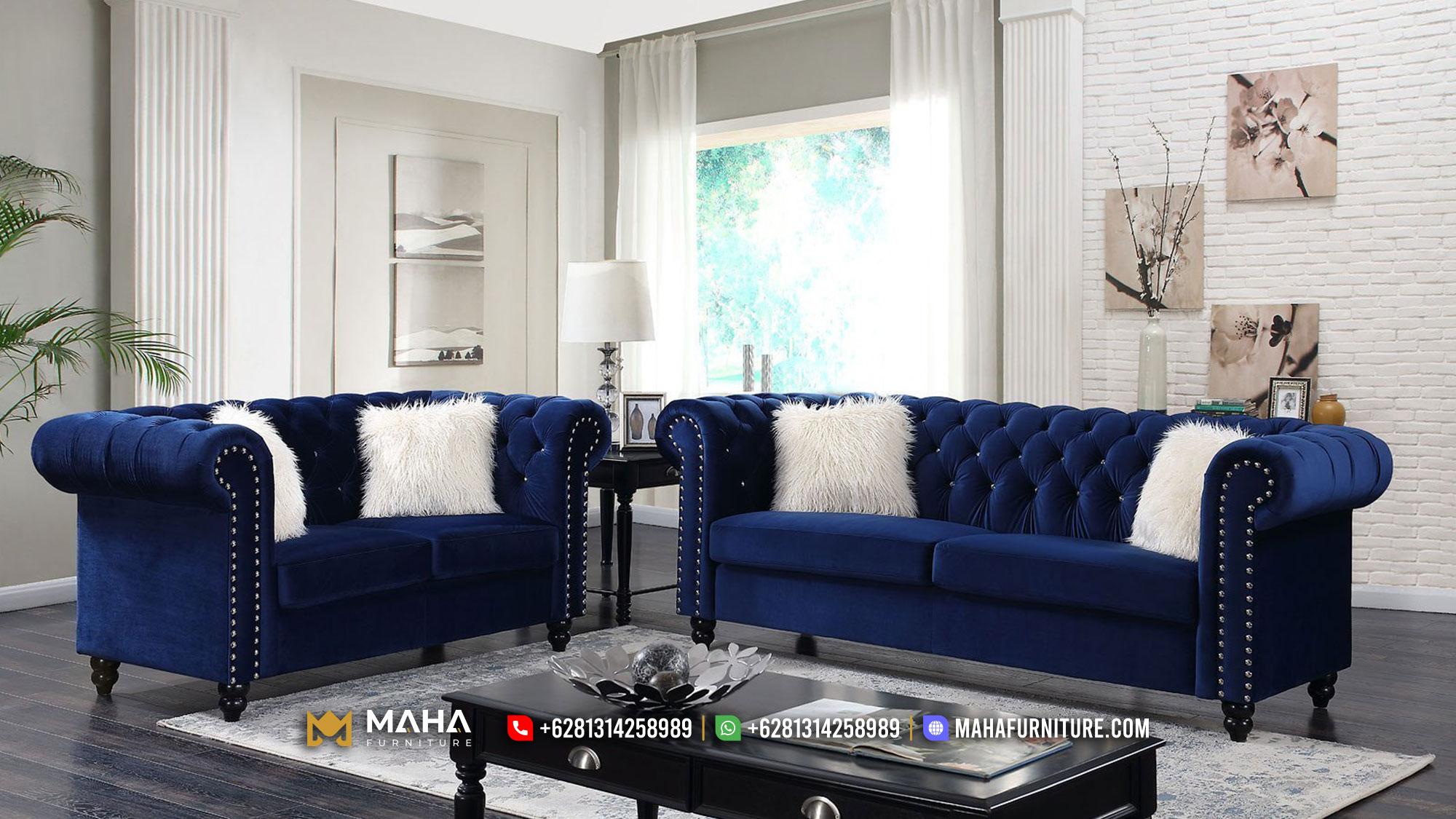 Maha Furniture Sofa Tamu Gaya Minimalis Mewah, Beautiful Navy MF53