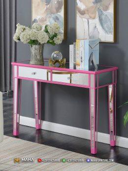 Meja Konsul Minimalis Modern Mirror Combinate Pink Charity MF163
