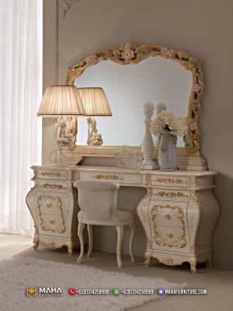Meja Rias Mewah Ukiran Asli Jepara White and Gold Luxury MF176