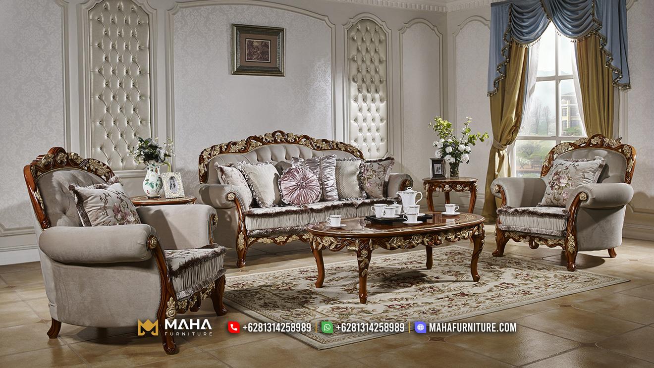 Model Set Sofa Tamu Jati Natural Mewah Design Exclusive MF212