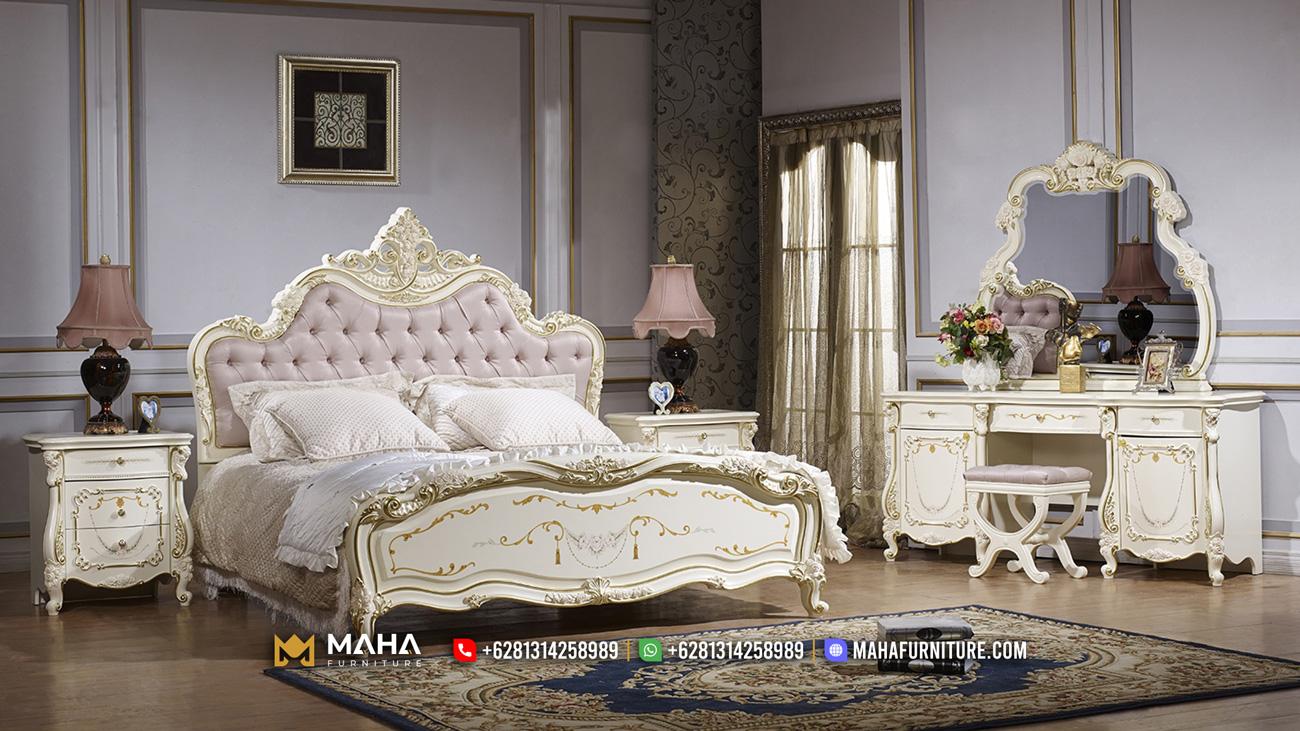 Model Tempat Tidur Klasik Mewah Ivory White MF205