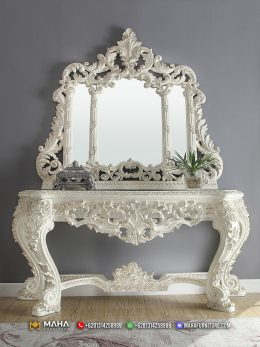 Model Terbaru Meja Konsol Ukir Mewah Jepara Luxury White MF158