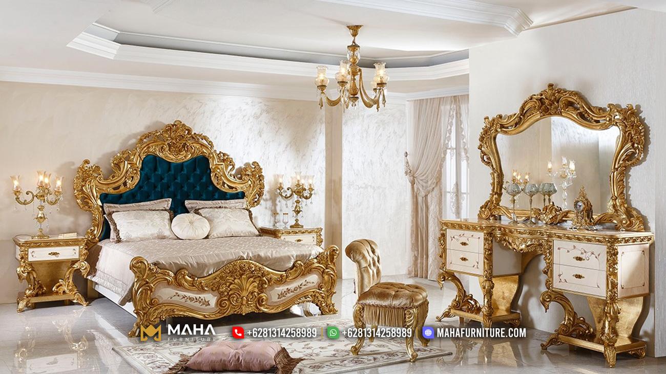 Set Kamar Tidur Mewah Ukiran Jepara Exclusive Gold MF106