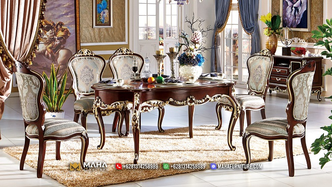 Set Meja Makan Jati Natural Kombinasi Emas Beautiful MF216