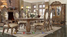 Set Meja Makan Mewah Jepara Ukiran Klasik Golden Brown MF6