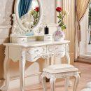 Set Meja Rias Minimalis Klasik Ukiran Jepara Ivory Luxury MF179