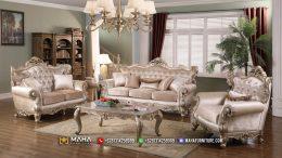 Sofa Tamu Mewah Ukir Jepara Classic Beige MF211