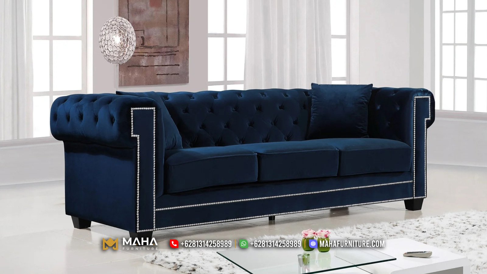 Sofa Tamu Minimalis Jepara Terbaru Chesterfield Blue Navy Luxury MF230