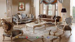 Sofa Ukiran Jepara Termurah Exclusive Gray Leather, Duco Gold MF70