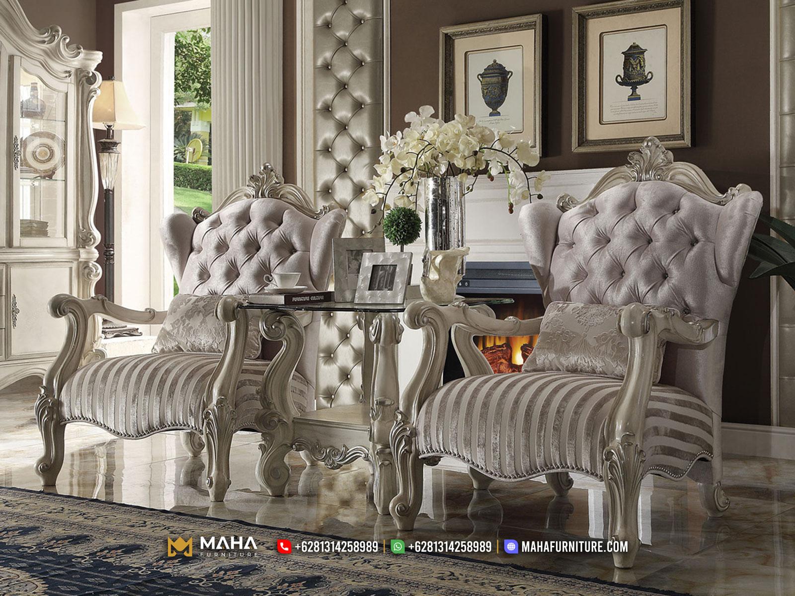 Terbaru Model Sofa Mewah Gaya Klasik White Doff Sparkling MF85