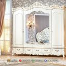 Desain Lemari Pakaian Ukir Jepara Duco White Charming MF321