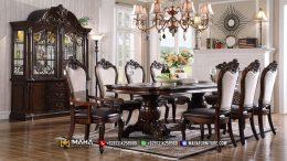 Desain Meja Makan Jati Perhutani Ukiran Klasik Elegant MF261