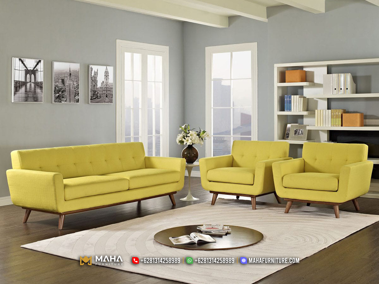 Diskon Sofa Tamu Minimalis Modern Jepara Excellent Mustard MF251