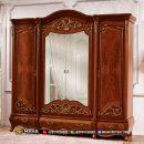 Lemari Pakaian Jati Jepara Elegant Carving Best Quality MF309