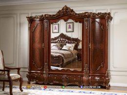 Lemari Pakaian Jepara Terbaru Luxury Carving Best Design MF303