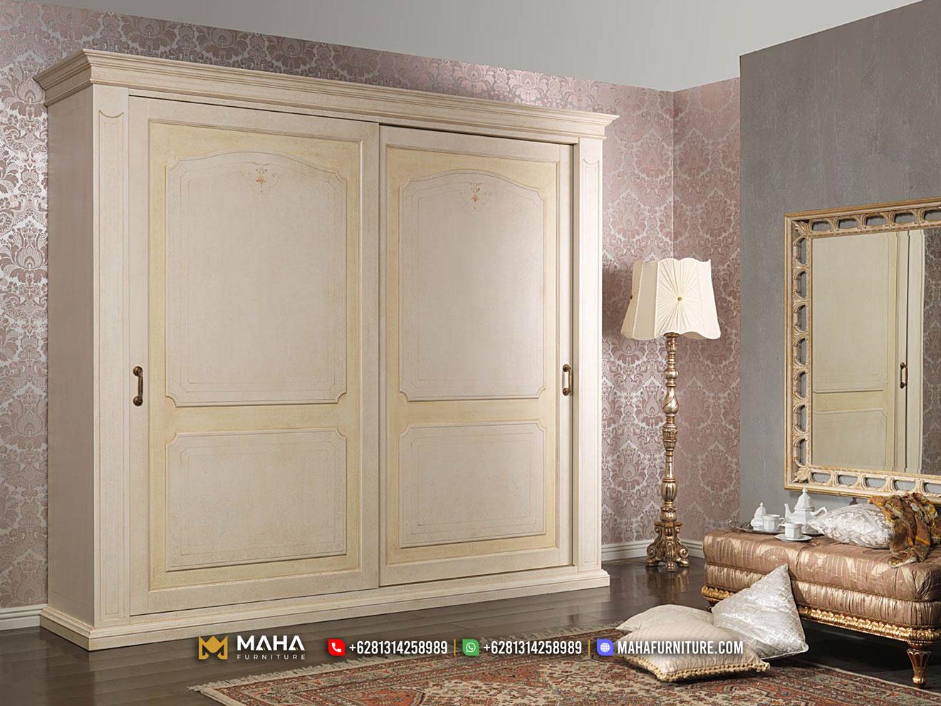 Lemari Pakaian Minimalis Model Vintage Natural Furniture Jepara MF316