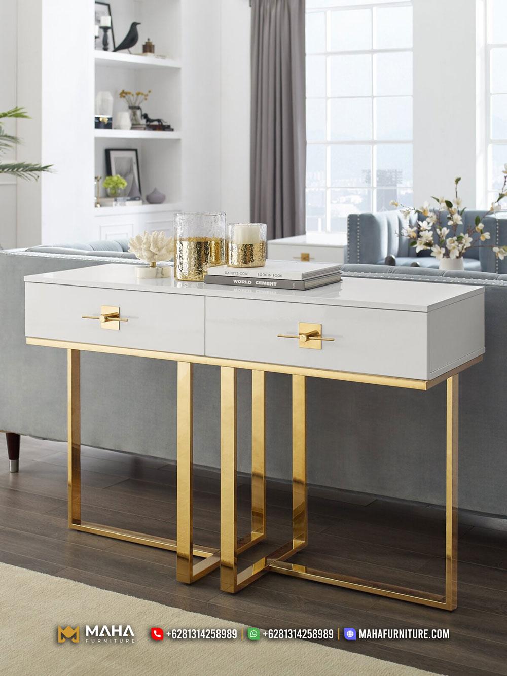 Luxury Meja Konsul Minimalis Mewah Elegant Gold White Donzello MF288