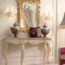 Meja Konsol Mewah Klasik Jepara Duco White And Gold Beauty MF275