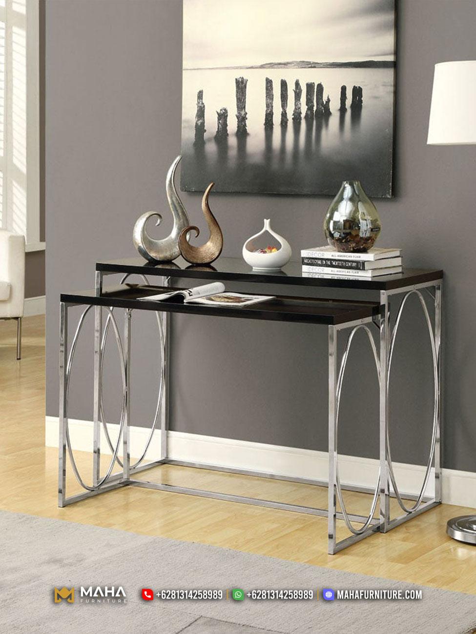 Meja Konsul Minimalis Furniture Jepara Metal Black Silver Ellegant MF280