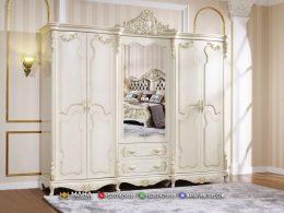 Model Lemari Pakaian Jepara Luxury White Duco Excelent MF330