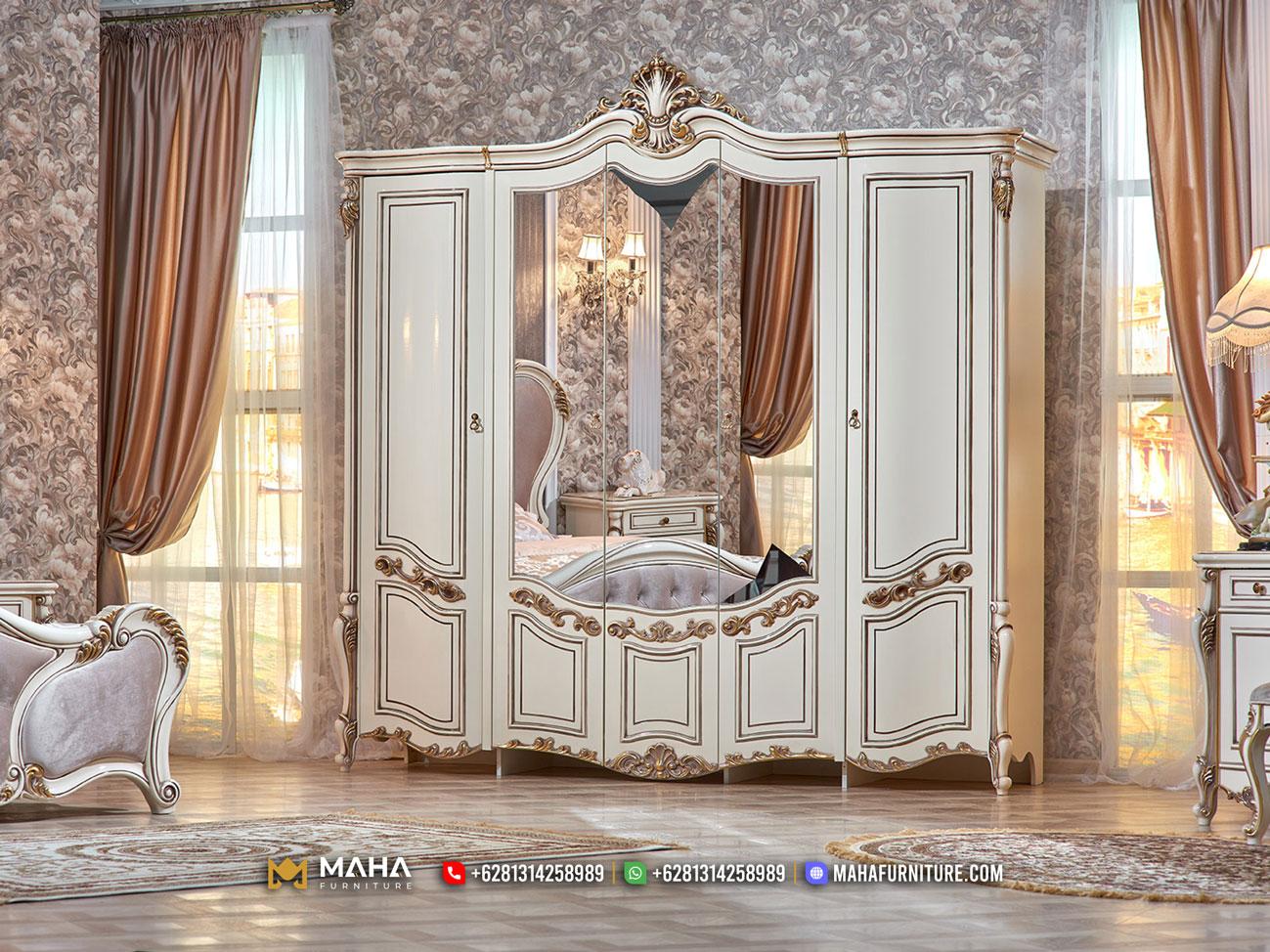 Model Lemari Pakaian Mewah Klasik Beauty White Gold Combination MF308