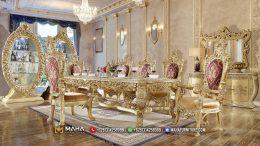 Set Meja Makan Mewah Ukiran Mewah Terbaru Luxury Gold MF259