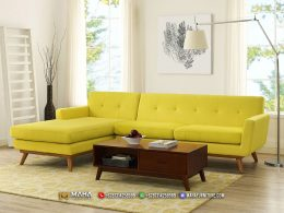 Set Sofa Tamu Gaya Retro Jepara Baru Yellow Bumblebee MF246