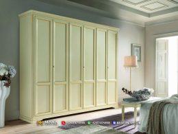 Terbaru Lemari Pakaian Minimalis 6 Pintu White DUco Elegant MF306